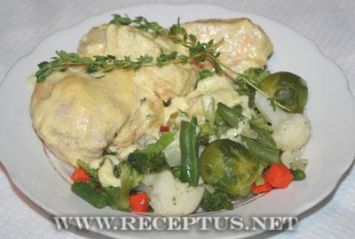 Куриные грудки в сливочном соусе с тимьяном